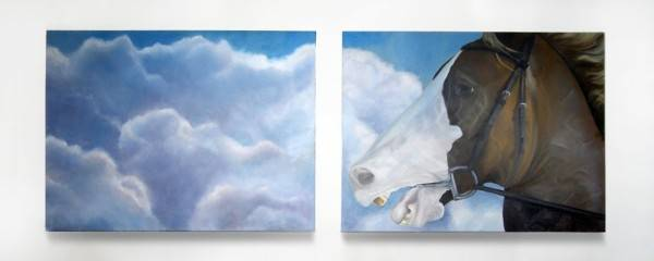"Charge, diptych, Oil Painting on Canvas, 96"" x 36"", 2008, Angela Jones"
